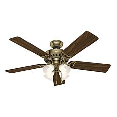 "Hunter 52"" Studio Series Antique Brass LED Light Ceiling Fan"