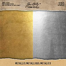 Idea-Ology Kraft Stock Cardstock Pad 8 x 8 36pk - Metallic Gold/Silver