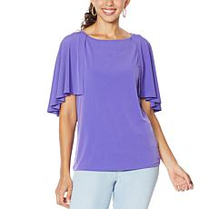 IMAN City Chic Cape-Sleeve Top with Keyhole Back
