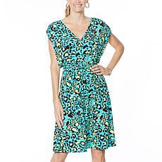 IMAN City Chic V-Neck Dress with Smocked Waist