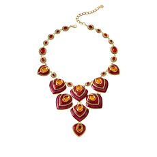 "IMAN Global Chic 17-1/2"" Goldtone Oval Stone Enamel Necklace"