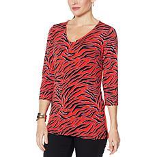 IMAN  Global Chic 3/4-Sleeve Knit V-Neck Tunic