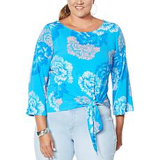 IMAN Global Chic 3/4-Sleeve Tie-Front Top