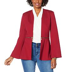 IMAN Global Chic Convertible Bell-Sleeve Ponte Blazer