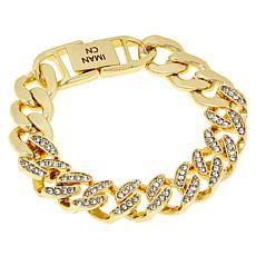 IMAN Global Chic Goldtone Crystal Curb-Link Bracelet