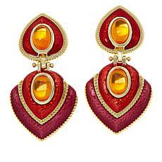 IMAN Global Chic Goldtone Oval Stone and Enamel Earrings