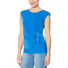 IMAN Global Chic Illusion Wrap Zipper Detail Top