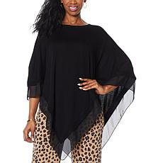 IMAN Global Chic Knit Poncho with Chiffon Trim