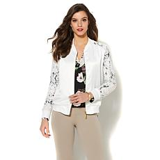 IMAN Global Chic Luxe Lace Bomber Jacket
