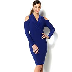 IMAN Global Chic Luxurious Cold-Shoulder Sheath Dress
