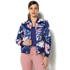 IMAN Global Chic Luxurious Reversible Bomber Jacket