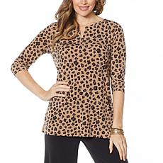 IMAN Global Chic Luxury Resort 3/4-Sleeve Keyhole Tunic