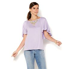 IMAN Global Chic Luxury Resort Flutter-Sleeve Top