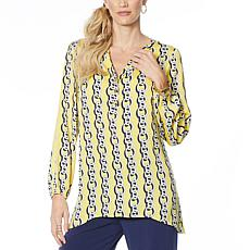 IMAN Global Chic Luxury Resort Printed Woven Tunic Top