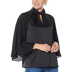 IMAN Global Chic Mock Neck 3/4 Ruffle Sleeve Woven Top
