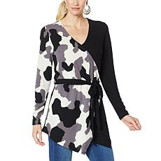 IMAN Global Chic Printed Colorblock Surplice Top