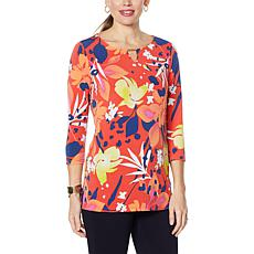 IMAN Global Chic Printed Keyhole 3/4 Sleeve Tunic