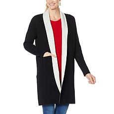 IMAN Global Chic Reversible Pocket-Front Knitted Cardigan
