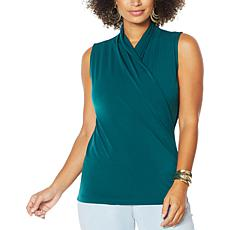 IMAN Global Chic Sleeveless Drape-Front Top