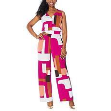 IMAN Global Chic Sleeveless Jumpsuit with Hidden Buttons