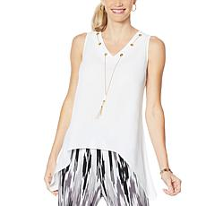 IMAN Global Chic Sleeveless Necklace Top