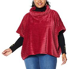 IMAN Global Chic Textured Faux Fur Cowl-Neck Poncho Cape