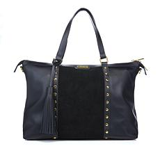 IMAN Global Chic Touch of Gold Studded Leather & Suede Satchel