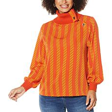 IMAN Global Chic Woven Top with Ribbed Trim and Button Detail
