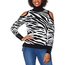 IMAN Global Chic Zebra-Print Cold Shoulder Pullover Sweater