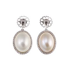 Imperial Pearls 12x16mm Cultured Freshwater Mabé Pearl Oval Earrings