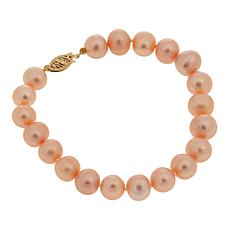 "Imperial Pearls 8.5-9.5mm Blush Cultured Pearl 14K 8"" Bracelet"