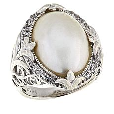 Imperial Pearls Cultured Mabé Pearl and White Topaz Floral Ring