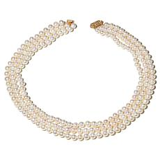 Imperial Pearls Cultured Pearl 14K 3-Row Necklace