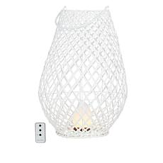 """Improvements 20"""" Wood Lantern with Flameless Tiki Light and Remote"""