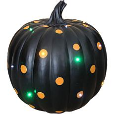 Indoor/Outdoor 15.5-In. Lighted Designer Pumpkin  Black with Orange...
