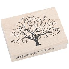 Inkadinkado Rubber Stamp - Flourished Fall Tree