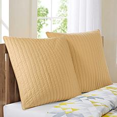 "INK+IVY Camila Cotton Quilted Euro Sham - Yellow - 26"" x 26"""