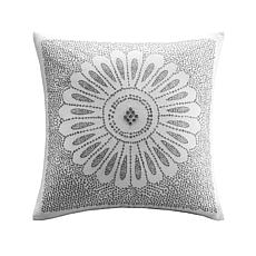 "INK+IVY Sofia Cotton Embroidered Decorative Pillow - Grey - 20"" x 20"""