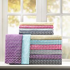 Intelligent Design  Chevron Printed Microfiber Sheet Set -Twin XL/Aqua
