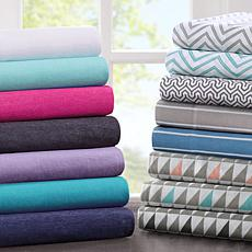Intelligent Design Cotton-Blend Jersey Sheet Set - Purple - Queen