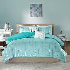 Intelligent Design  Raina Aqua/Silver Metallic Comforter Set Full/Q