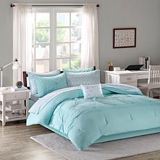 Intelligent Design  Toren Embroidered Comforter & Sheet Set Aqua Queen