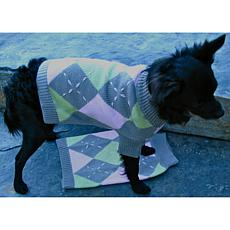 Isabella Cane Knit Dog Sweater - Argyle XS