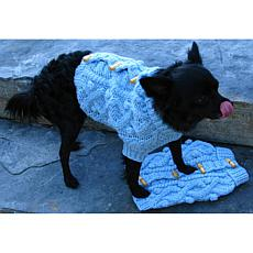 Isabella Cane Knit Dog Sweater - Blue Toggle XL