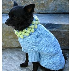 Isabella Cane Knit Dog Sweater - Blue with Green M