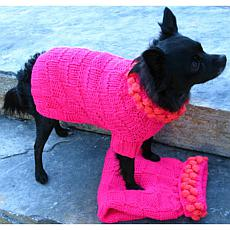 Isabella Cane Knit Dog Sweater - Fuscia Poms M