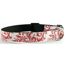 Isabella Cane Trellis Cotton Dog Collar - Pink XS