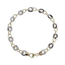 Italian Gold 14K Two-Tone Link Bracelet - Large