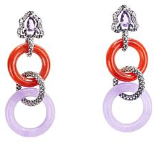 Jade of Yesteryear Amethyst and Multi-Color Jade Circle Drop Earrings
