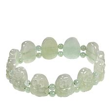Jade of Yesteryear Carved Green Jade Stretch Bracelet